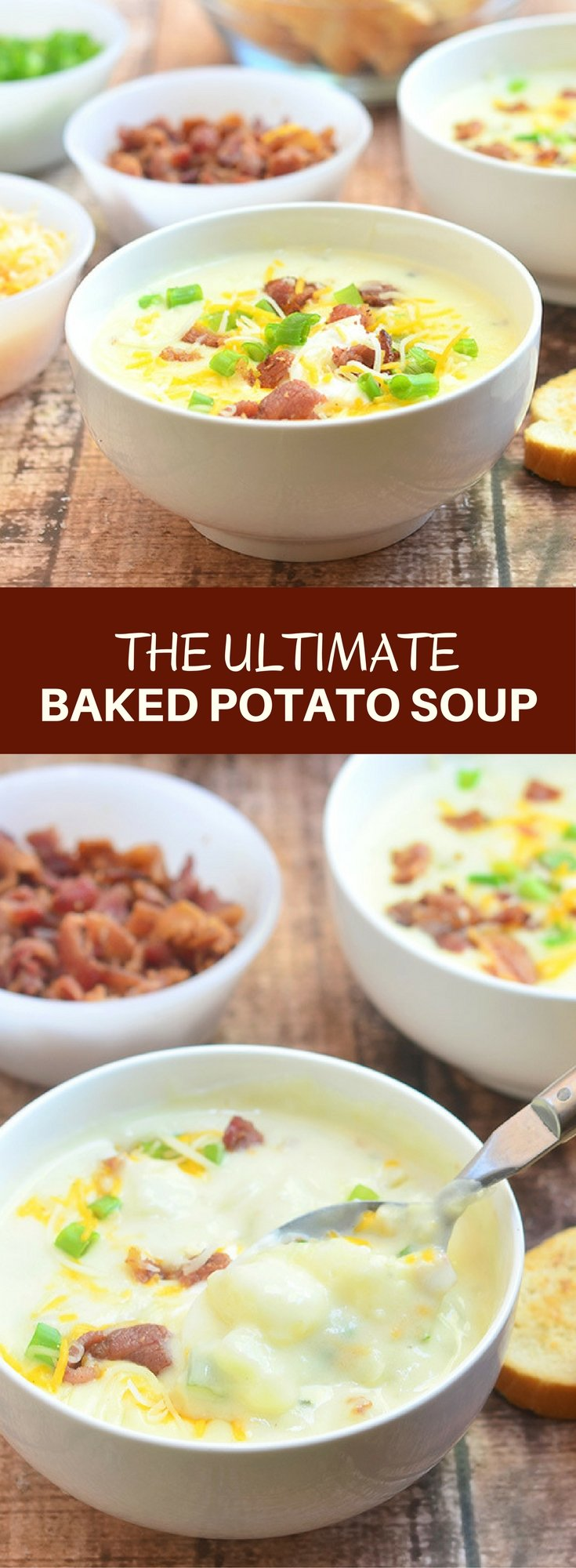 Ultimate Baked Potato Soup loaded with potato chunks, bacon bits, green onions, shredded cheese, and sour cream plus a thick, creamy broth you'd want to dive into! Hearty and delicious, it's the ultimate comfort food!