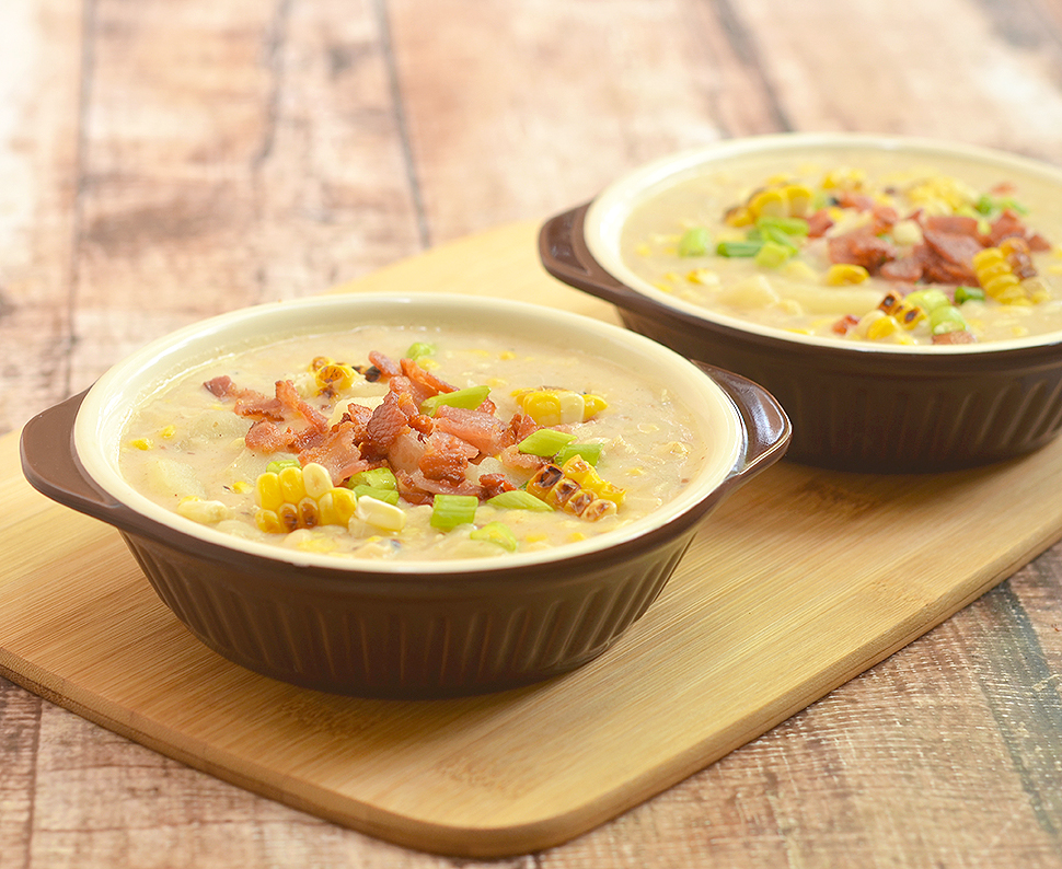 Grilled Corn Potato Chowder with grilled corn, potato, and crisp bacon bits. Rich, creamy, and hearty, it's the perfect comfort food!