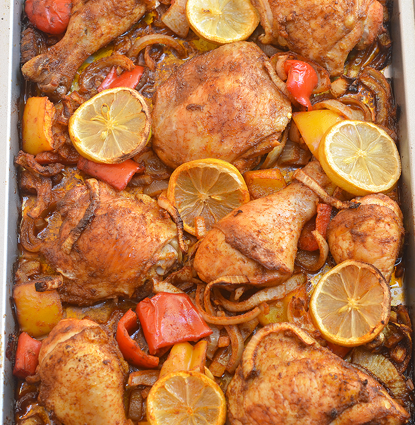 Peruivian Roasted Chicken delivers big, bold flavors without a lot of effort. Moist, juicy, and loaded with sweet onions, bell peppers, and lemon, it's sure to be a family favorite!