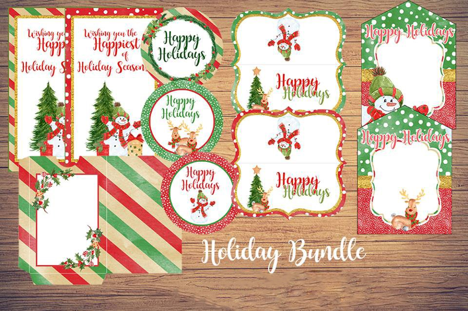 Christmas Gift Giving FREE Printables includes treat bag toppers, gift tags, mason jar stickers, gift card holders, cupcake toppers, and popcorn bag wrappers. Everything you need to spread some holiday cheer in style!
