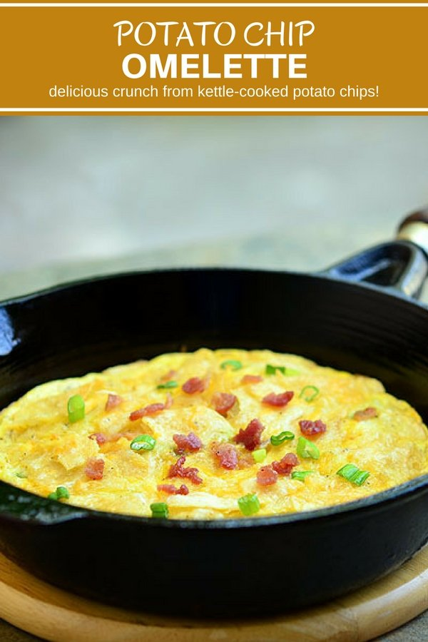 Potato Chip Omelette is a unique twist on the Spanish Frittata. Crisp potato chips add crunch and flavor to your regular omelette for delicious layer of yum!
