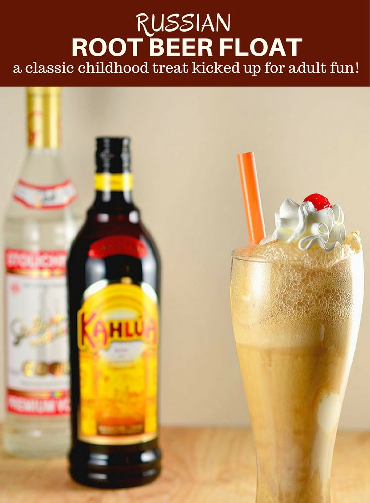 Russian Root Beer Float with Kahlua, Vodka, ice cream, and root beer is a grown-up twist on a classic fountain drink. It's rich, creamy and perfect for anytime you need a little fun in your life!