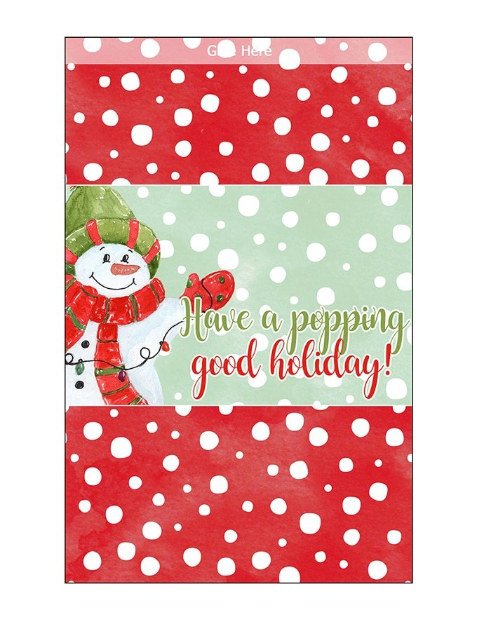 Christmas Popcorn Wrapper Printable
