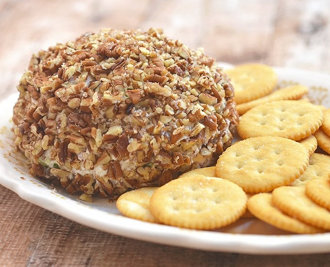 This pineapple cheese ball with pecans is great for parties.