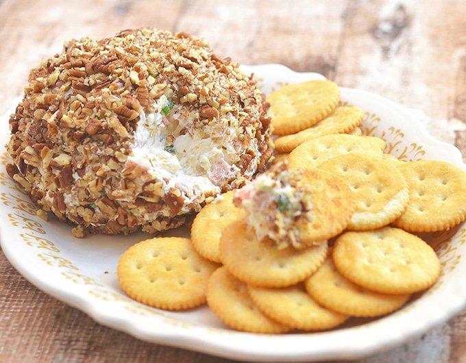 Pineapple Pecan Cheese Ball with Ritz crackers makes a perfect party appetizer.