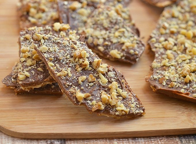 Saltine Toffee Cookies on a wooden board