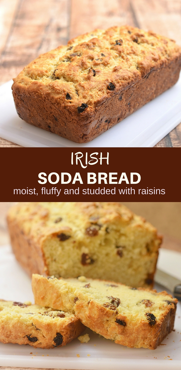 Irish Soda Bread with a delicious golden crust on the outside, moist and fluffy on the inside, and generously studded with plump raisins is the best quick bread loaf you'll ever have! It's perfect for all your St. Patrick's celebrations but just as good all year long
