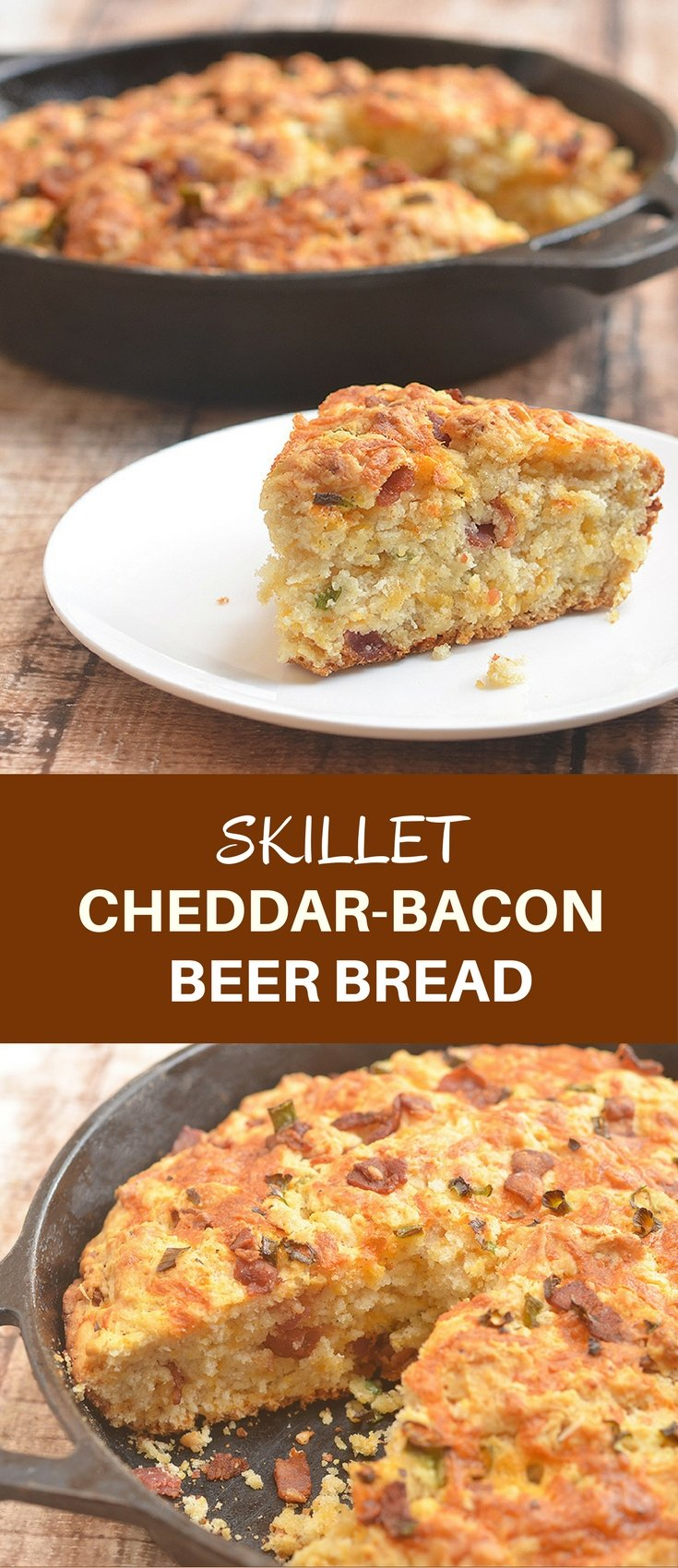 Skillet Cheddar-Bacon Beer Bread is a savory quick bread with smoky bacon, sharp cheddar, and green onions. Golden and crisp on the outside and moist and fluffy on the inside, it's the perfect pair to your favorite hearty soup or homemade chili.