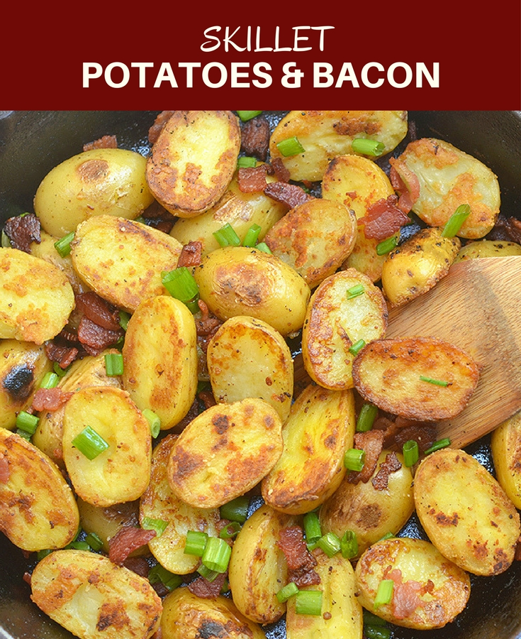Skillet Potatoes and Bacon makes a simple yet spectacular addition to any dinner meal. With crisp edges, creamy centers, and loads of flavor, the everyone will be fighting over the last piece!