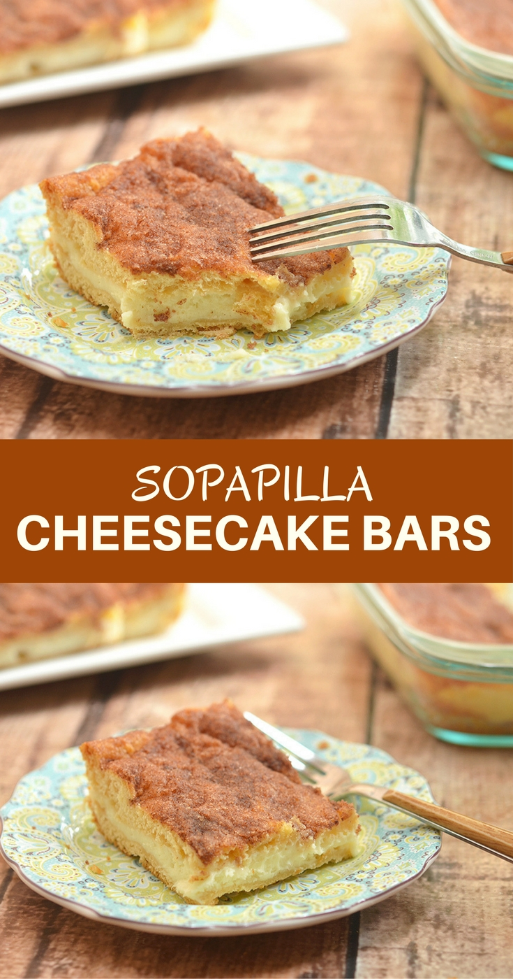 Sopapilla Cheesecake Bars with pillowy, cinnamon pastry and dreamy cheesecake layer are ridiculously easy to make yet absolutely delicious. Make sure to double the batch as your guests will be lining up for more!