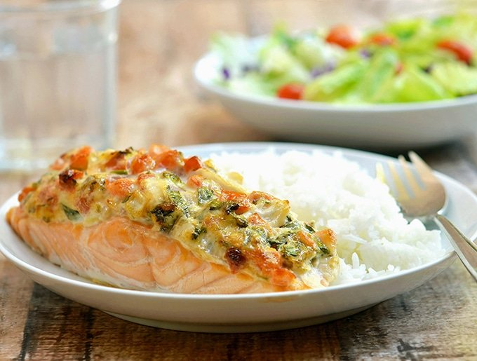 Baked Salmon with mayonnaise and salsa and mayo for a super moist and flavorful dish