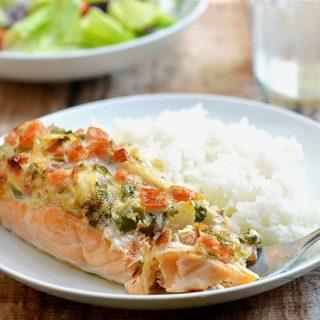 Salmon with Salsa Mayo Topping