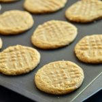 Unbelievable Three Ingredient Peanut Butter Cookies are so easy to make with only three ingredients and NO flour. With an intense peanut butter flavor, these gluten-free cookies are absolutely delicious!