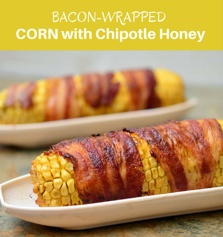 Bacon-wrapped Corn with Chipotle Honey Glaze grilled to sweet, salty and smoky perfection are the best way to enjoy summer's corn!