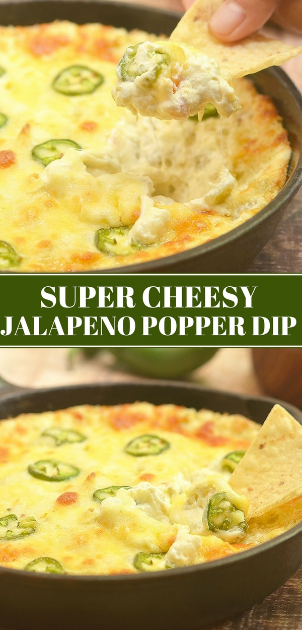 Cheesy Jalapeno Popper Dip in a cast iron pan