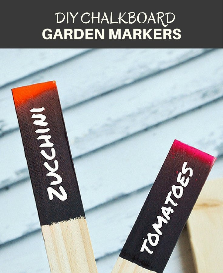 DIY Chalkboard Garden Markers make a cute addition to your garden! Made with sturdy wooden stakes and painted black chalkboard paint, they're reusable year after year!
