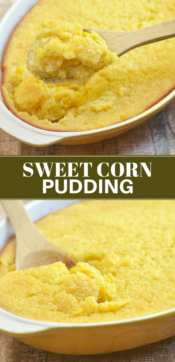 Sweet Corn Pudding baked in a yellow casserole dish