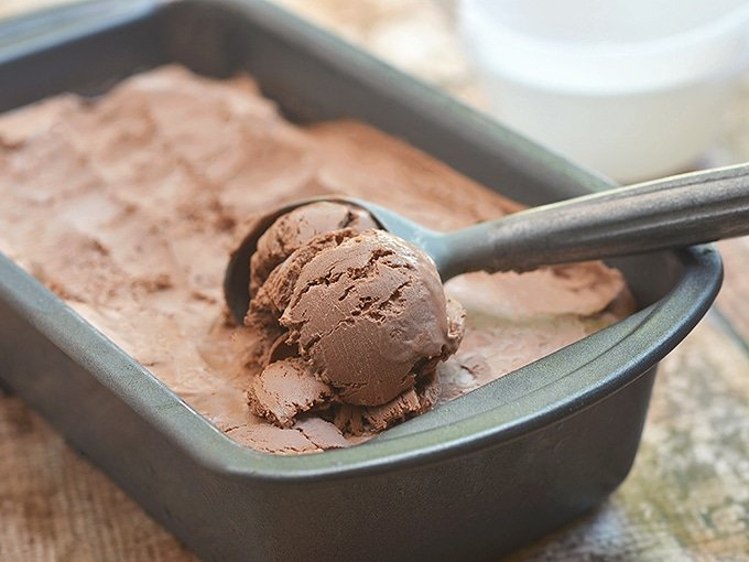 No-churn Chocolate Ice cream in a metal loaf pan