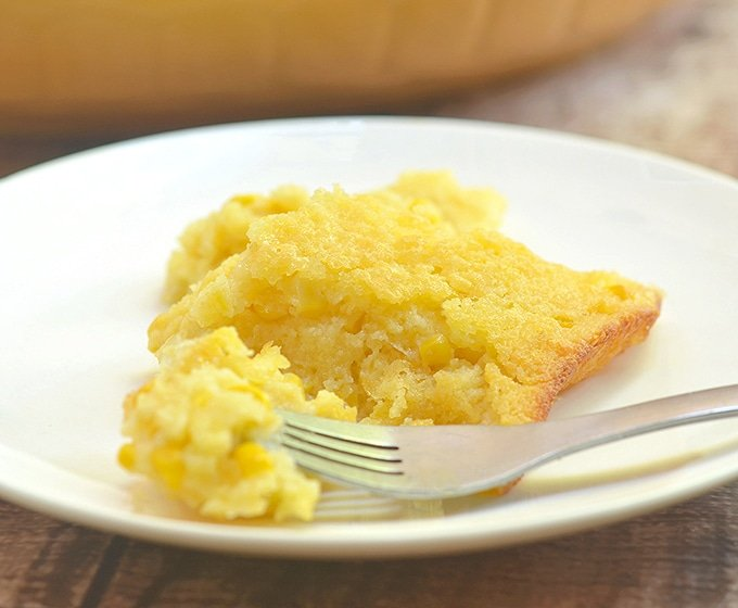 sweet corn pudding in a serving plate