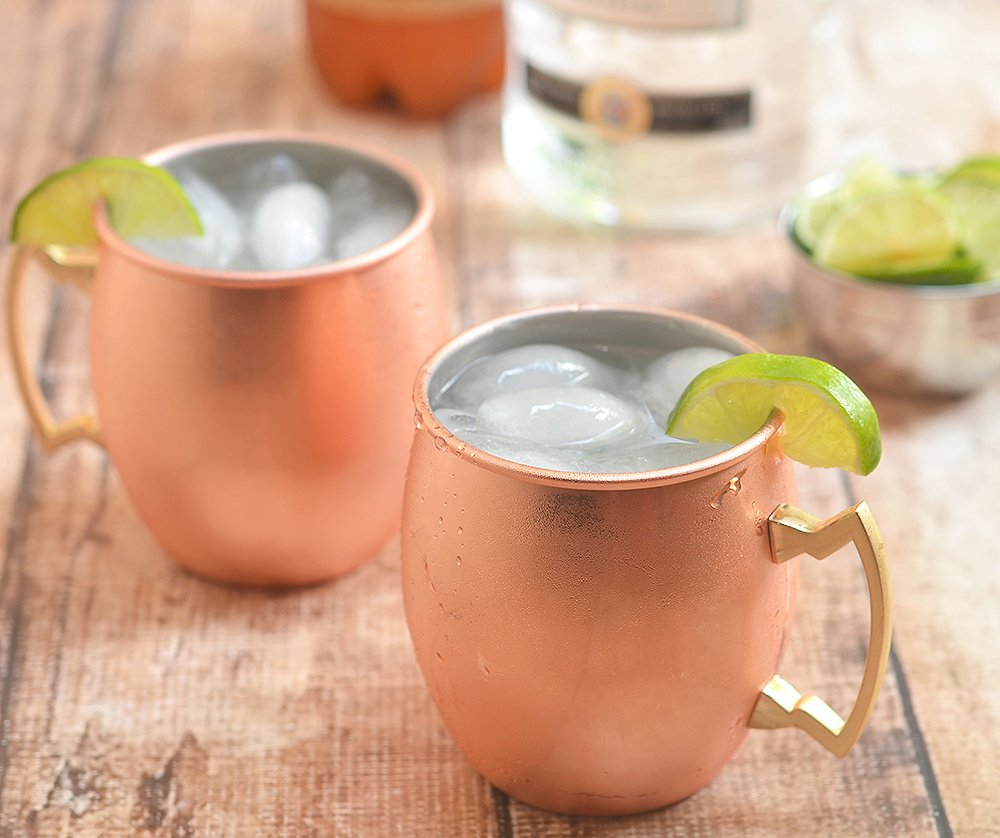 Classic Moscow mule made with vodka, ginger beer, and lime juice is tart and refreshing.