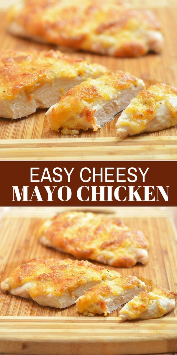 baked chicken with mayo on a cutting board