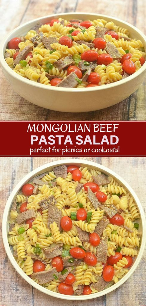 pasta salad with Mongolian beef, tomatoes, green onions