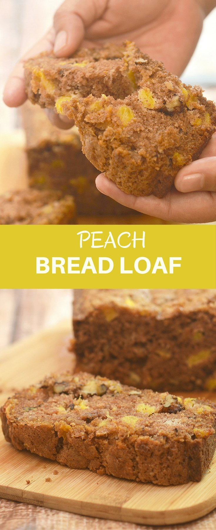 Peach Bread Loaf deliciously studded with fresh peach bits and bursting with warm cinnamon flavors. Super soft and moist, it's amazing for breakfast or anytime snack.