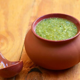 Homemade Salsa verde is an authentic Mexican salsa made with tomatillos and jalapeno peppers. With big, bold flavors, it's a fantastic way to add delicious heat to your favorite food!
