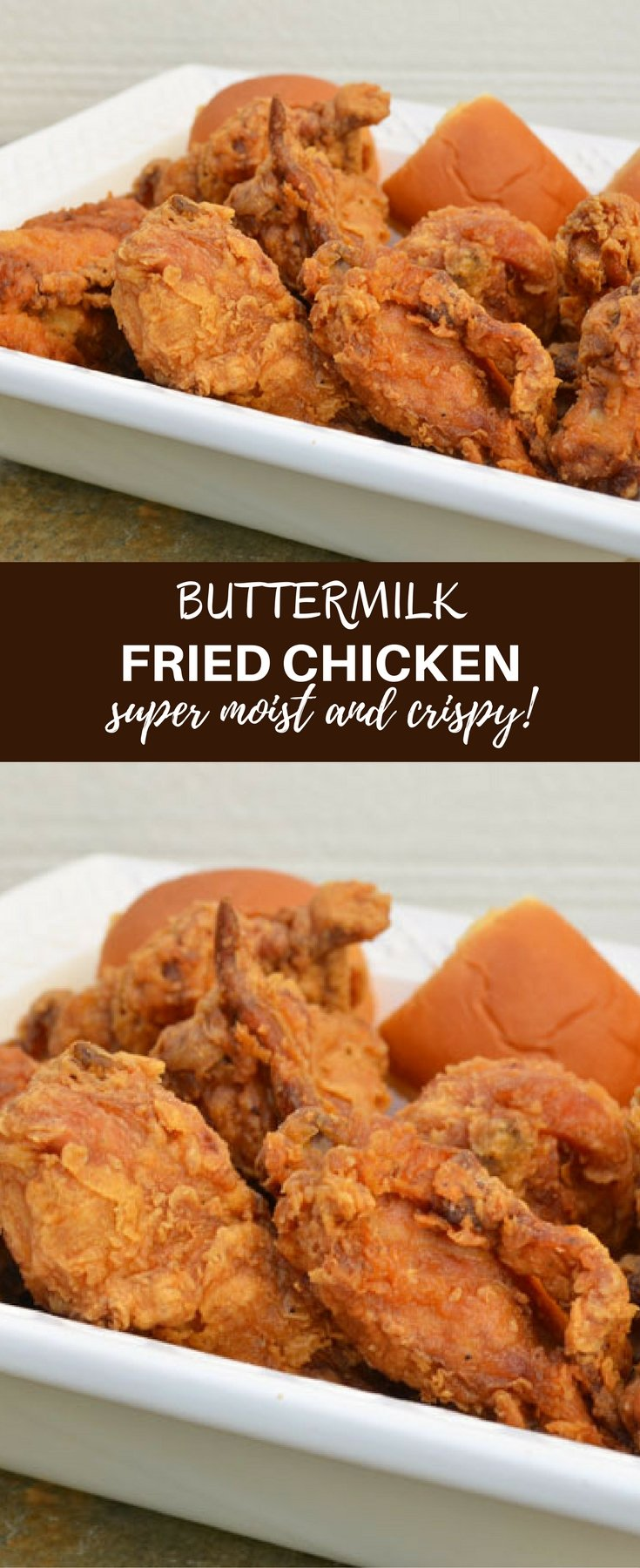 Crispy Buttermilk Fried Chicken is guaranteed to be a crowd pleaser. Learn the simple tips on how to make chicken that's moist and juicy on the inside and golden and crispy on the outside!