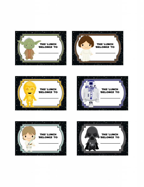 Star Wars Lunch Bag Labels Free Printable