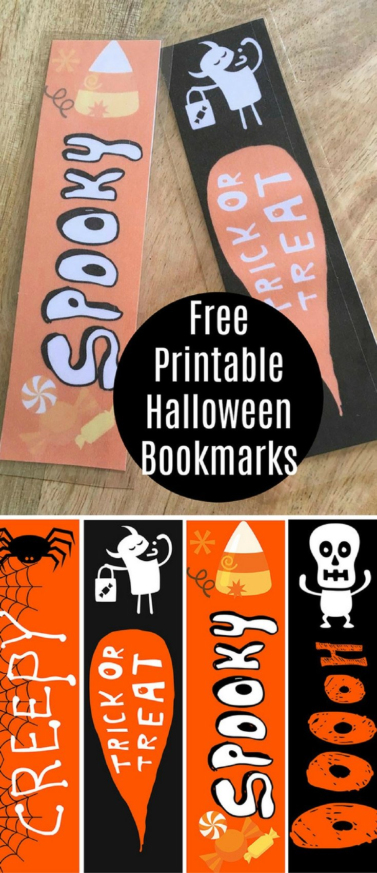 FREE Printable Halloween Bookmarks are the perfect party favors! Print, laminate, and give them out to trick or treaters. They're super cute and make reading fun!