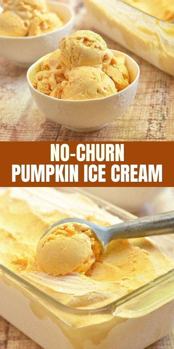 scoops of pumpkin ice cream in white bowls