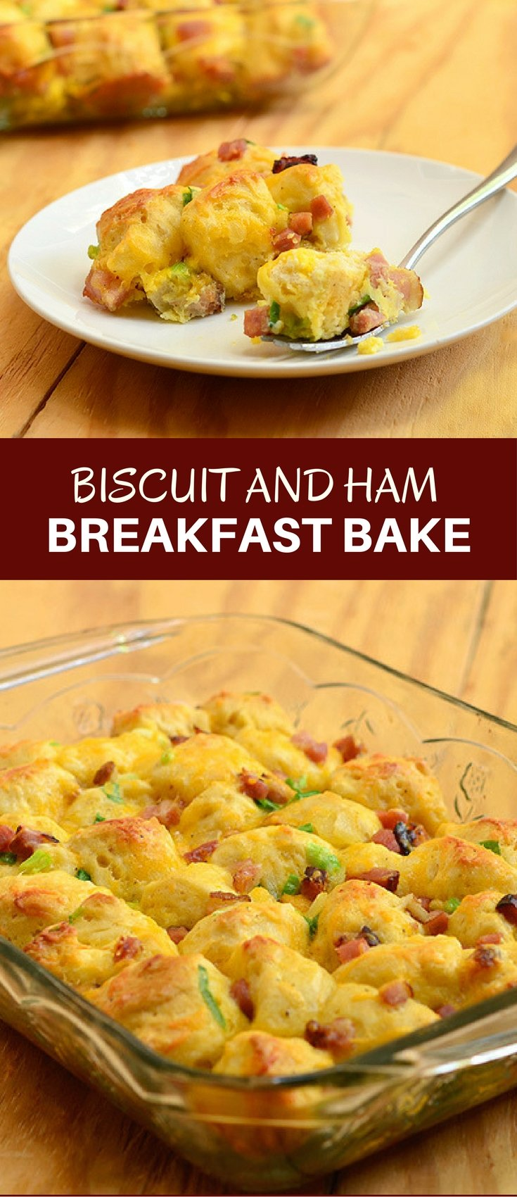 Biscuit and Ham Breakfast Bake with diced ham, tender biscuits, eggs, and cheese is a hearty casserole perfect for breakfast or brunch. Can be made ahead for busy work days!