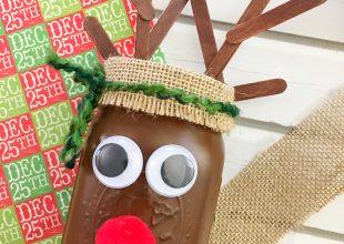 DIY Christmas Reindeer Mason Jar
