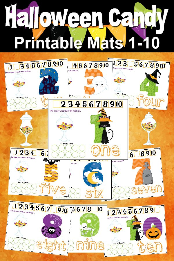 Free Printables Halloween Play Dough Counting Mats 1 to 10 for practice counting and number recognition activities. These Halloween-themed printable mats will keep kids busy for hours and make math more fun. Just print and laminate!