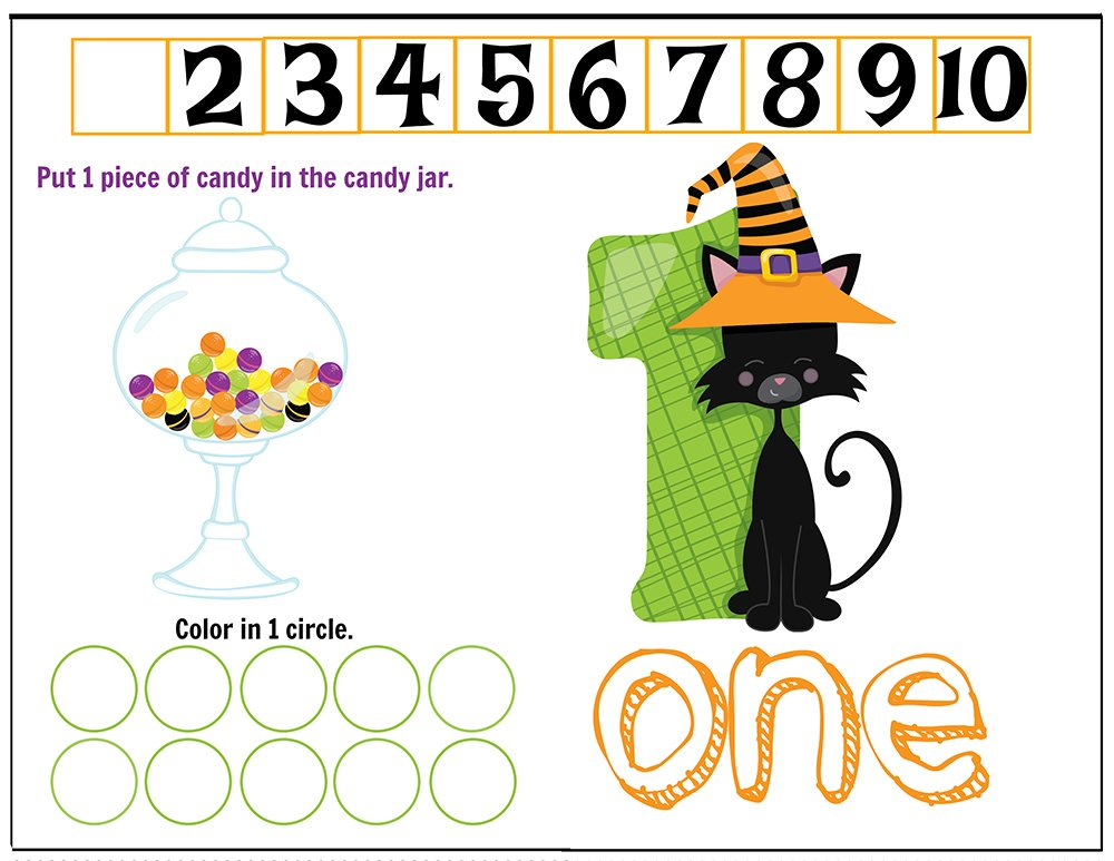 Free Printables Halloween Play Dough Counting Mats 1 to 10 for practice counting and number recognition activities. These Halloween-themed printable mats will keep kids busy for hours and make math more fun. Just print and laminate! Number 1