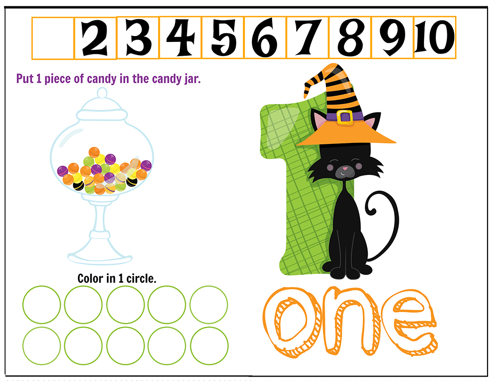 Free Printables Halloween Play Dough Counting Mats 1 to 10 for practice counting and number recognition activities. These Halloween-themed printable mats will keep kids busy for hours and make math more fun. Just print and laminate! Number 10
