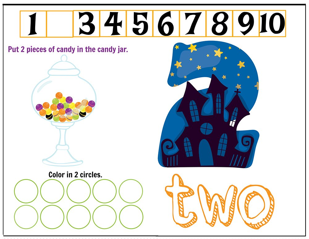 Free Printables Halloween Play Dough Counting Mats 1 to 10 for practice counting and number recognition activities. These Halloween-themed printable mats will keep kids busy for hours and make math more fun. Just print and laminate! Number 2