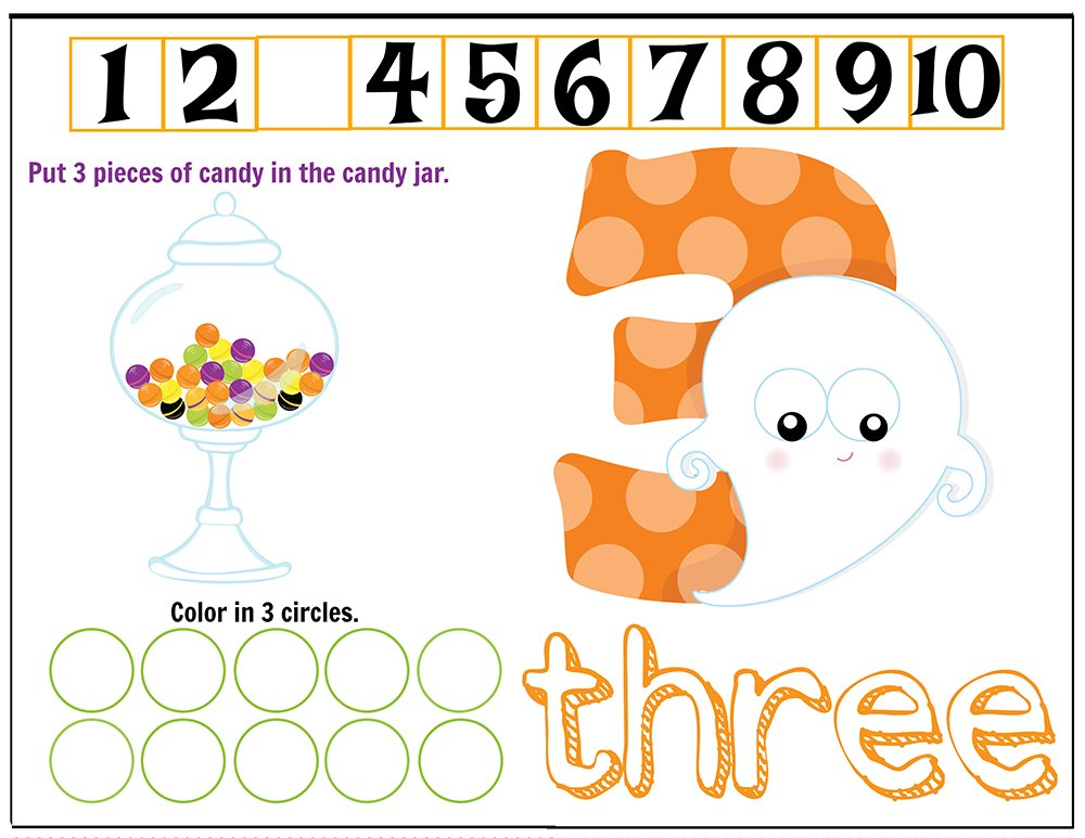 Free Printables Halloween Play Dough Counting Mats 1 to 10 for practice counting and number recognition activities. These Halloween-themed printable mats will keep kids busy for hours and make math more fun. Just print and laminate! Number 3