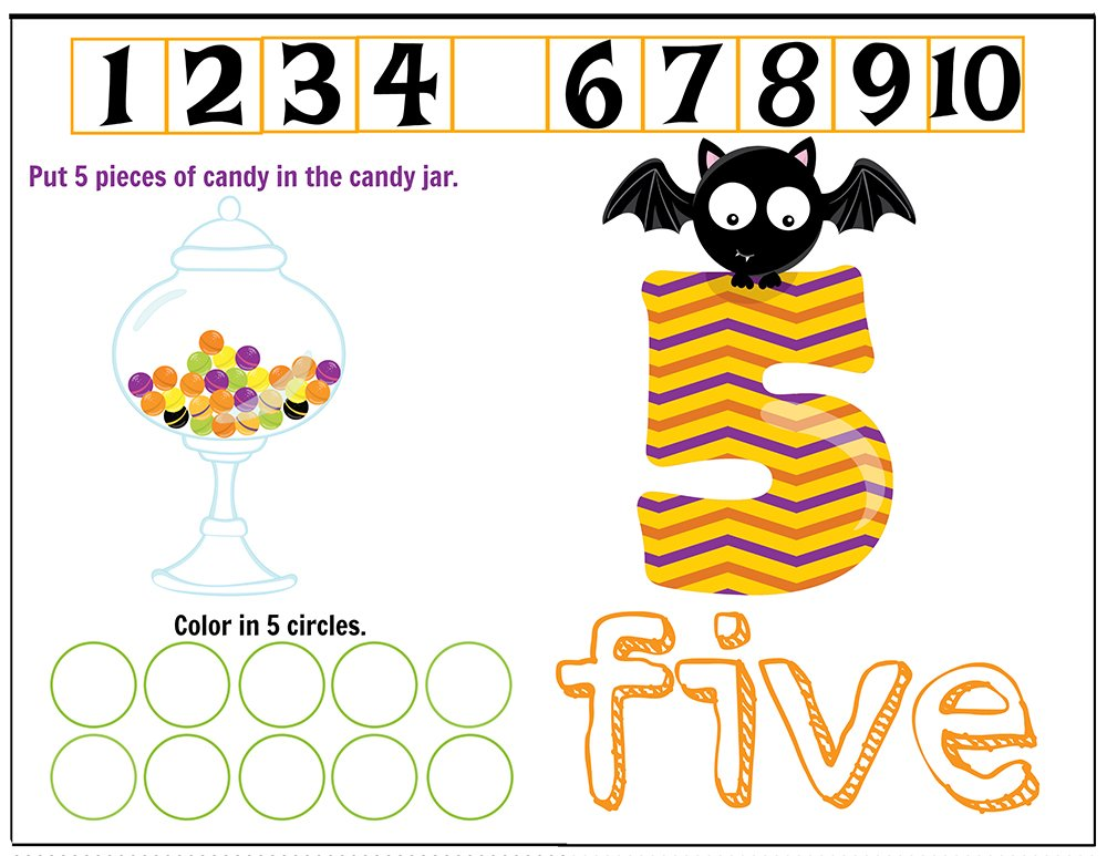 Free Printables Halloween Play Dough Counting Mats 1 to 10 for practice counting and number recognition activities. These Halloween-themed printable mats will keep kids busy for hours and make math more fun. Just print and laminate! Number 5