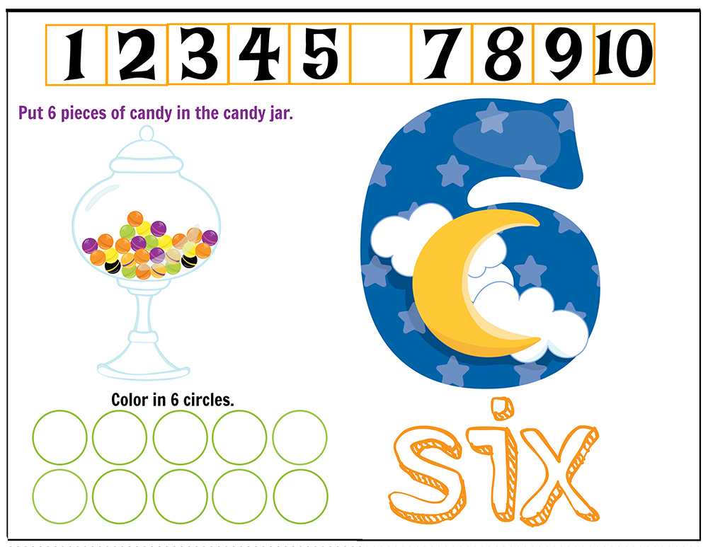 Free Printables Halloween Play Dough Counting Mats 1 to 10 for practice counting and number recognition activities. These Halloween-themed printable mats will keep kids busy for hours and make math more fun. Just print and laminate! Number 6