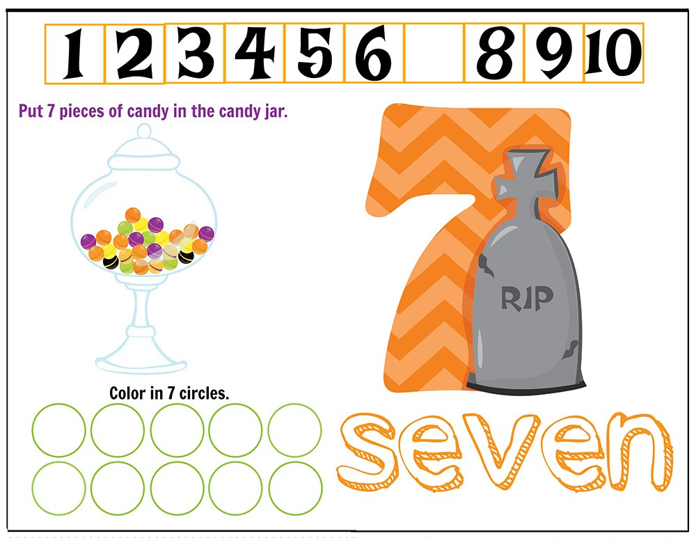 Free Printables Halloween Play Dough Counting Mats 1 to 10 for practice counting and number recognition activities. These Halloween-themed printable mats will keep kids busy for hours and make math more fun. Just print and laminate! Number 7