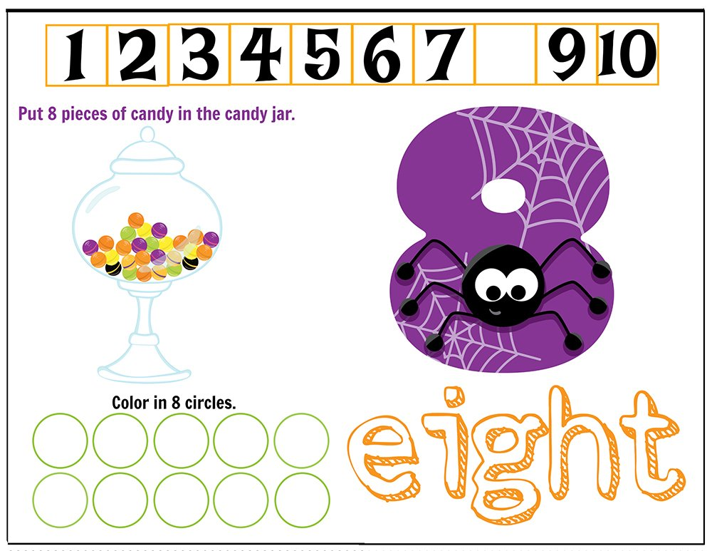 Free Printables Halloween Play Dough Counting Mats 1 to 10 for practice counting and number recognition activities. These Halloween-themed printable mats will keep kids busy for hours and make math more fun. Just print and laminate! Number 8