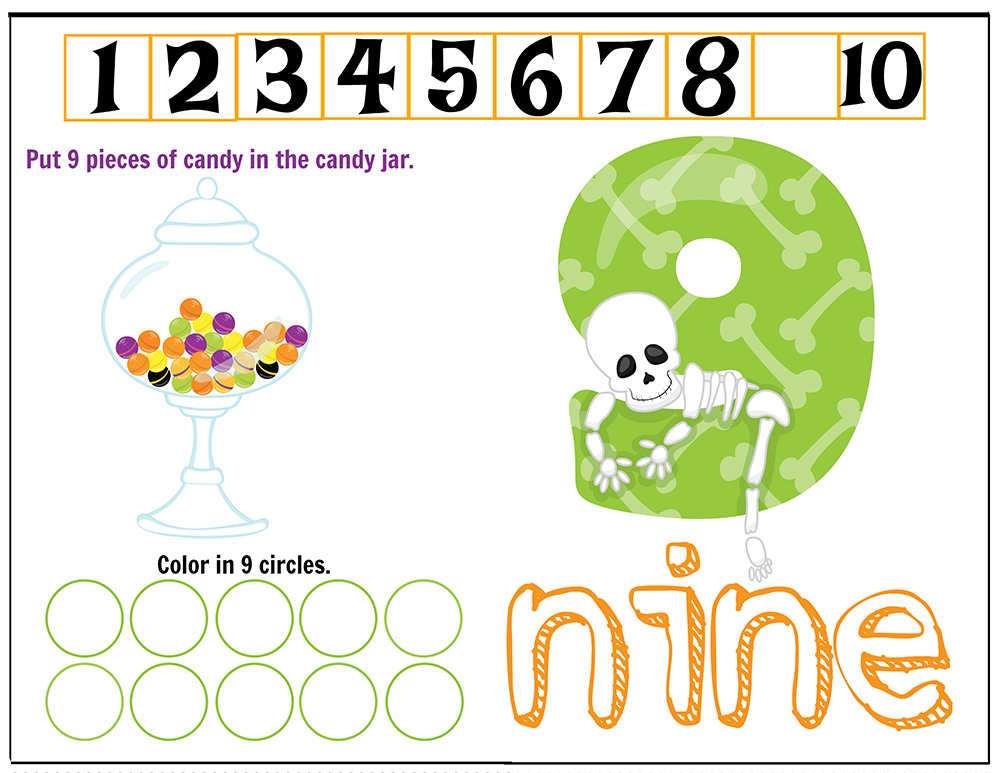 Free Printables Halloween Play Dough Counting Mats 1 to 10 for practice counting and number recognition activities. These Halloween-themed printable mats will keep kids busy for hours and make math more fun. Just print and laminate! Number 9