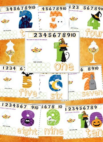 Free Printables Halloween Play Dough Counting Mats