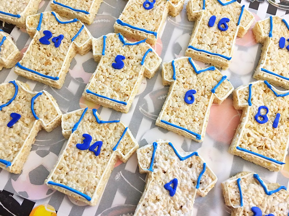 Football Jersey Rice Krispies Treats are the perfect dessert or snack for a game day party. They're as much fun to make as they are to eat!