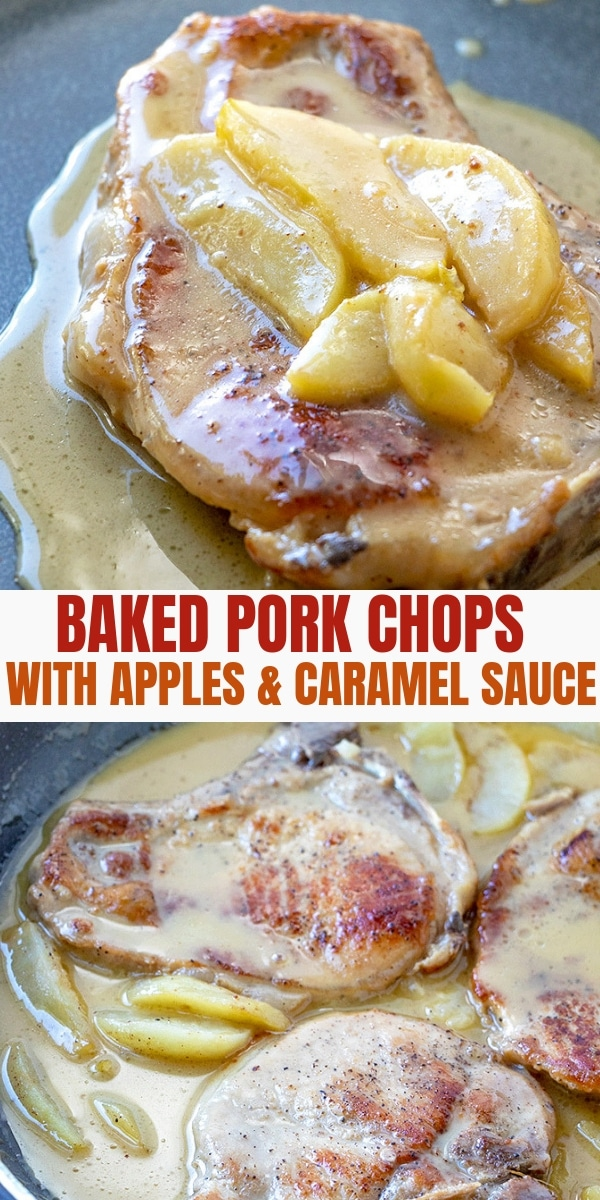 baked pork chops with tart apples and caramel sauce on a plate