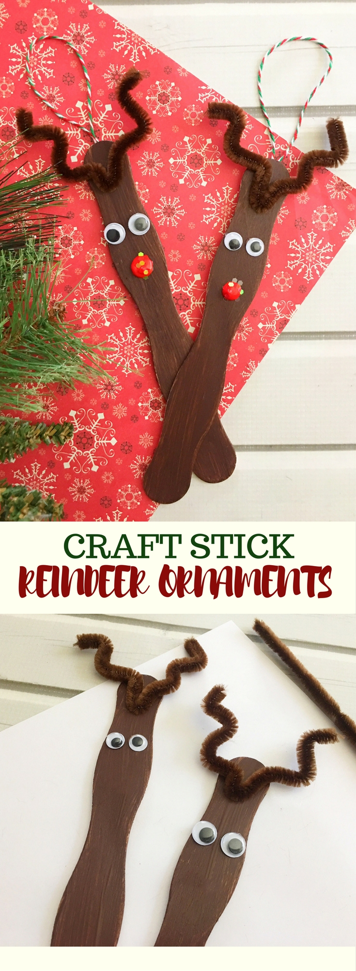 Craft Stick Reindeer Ornaments are an easy and fun Christmas craft to do with the whole family. Super adorable as tree decorations or gift package toppers!