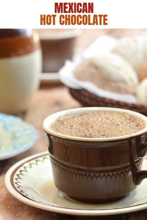 Mexican-style hot chocolate in a cup