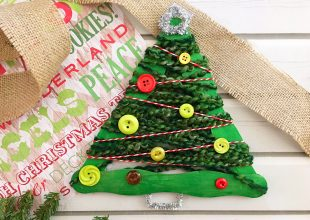 Yarn-Wrapped Christmas Tree Craft Stick Ornaments